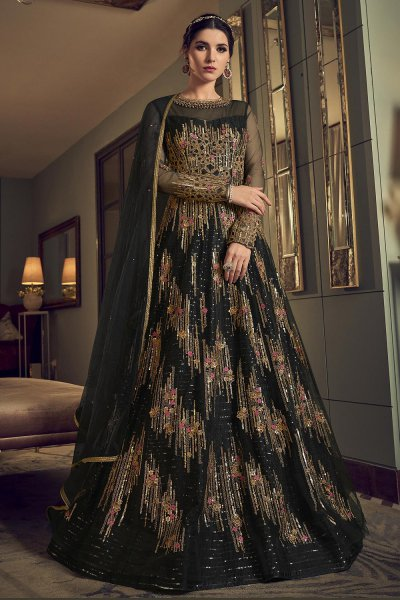 Black Party Wear Anarkali Suit with Sequins Work