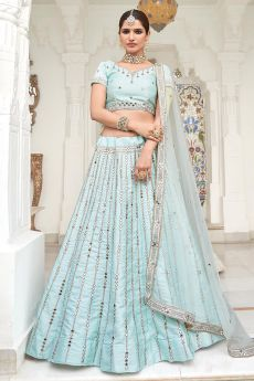 Sky Blue Zari Embroidered Silk Lehenga with Mirror Detailing