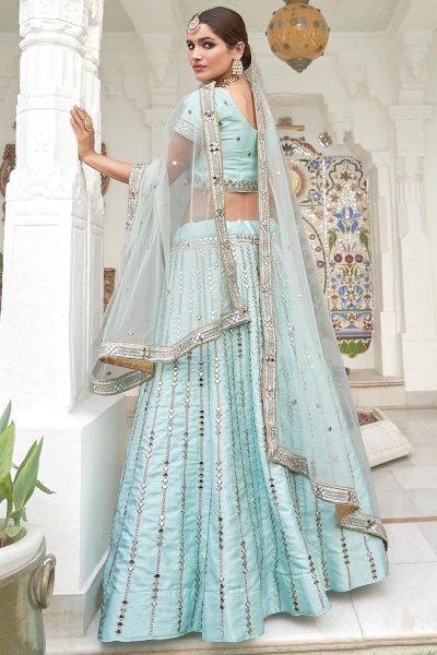 Sky Blue Zari Embroidered Silk Lehenga with Mirror Detailing