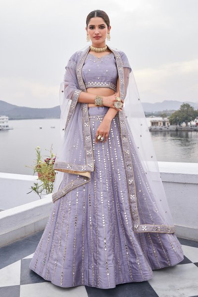Lavender Zari Embroidered Silk Lehenga with Mirror Detailing