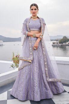 Lavender Zari Embroidered Silk Lehenga with Mirror Detailing