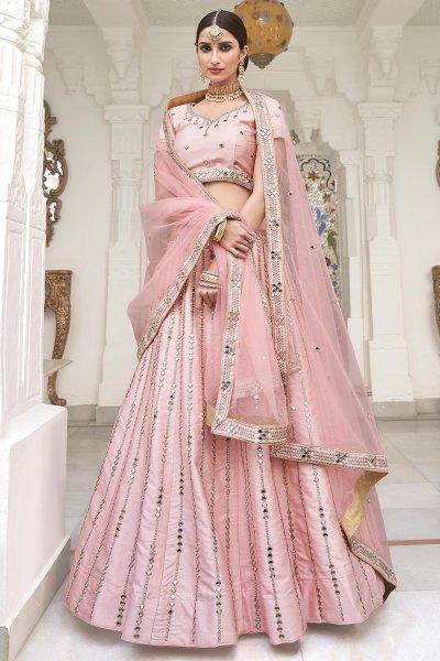 Baby Pink Zari Embroidered Silk Lehenga with Mirror Detailing