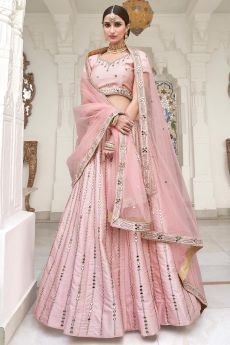 Baby Pink Zari Embroidered Silk Lehenga with Mirror Detailing