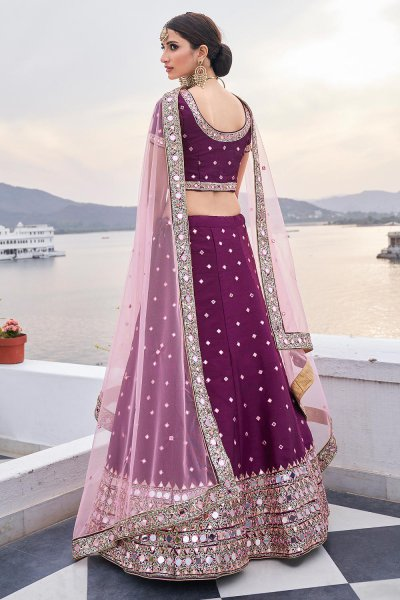 Beautiful Purple Silk Lehenga Choli with Mirror Embellishments