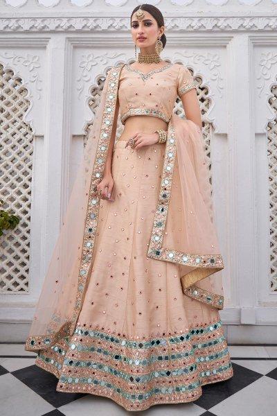 Beige Peach Silk Lehenga Choli with Mirror Embellishments