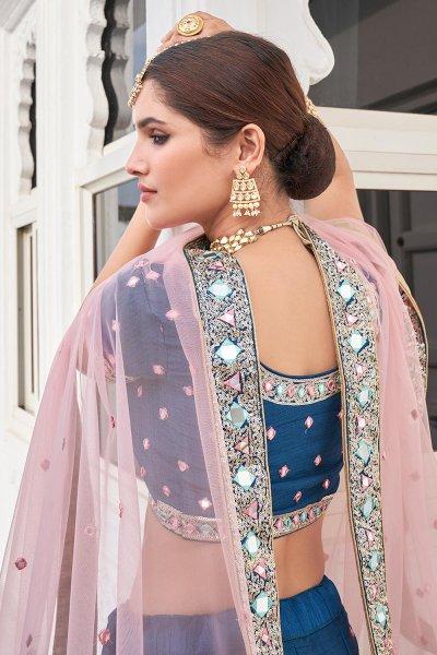 Beautiful Blue Silk Lehenga Choli with Mirror Embellishments