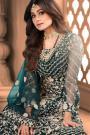 Teal Blue Net Embroidered Anarkali Suit