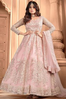 Peach Net Embroidered Anarkali Suit