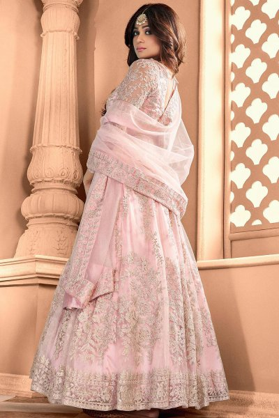 Baby Pink Net Embroidered Anarkali Suit