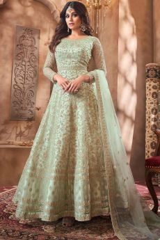 Pastel Green Net Embroidered Anarkali Suit