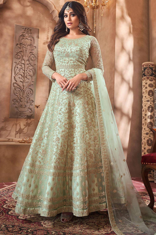 Pastel Green Net Embroidered Anarkali Suit