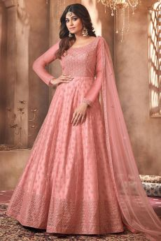 Dark Peach Net Embroidered Anarkali Suit