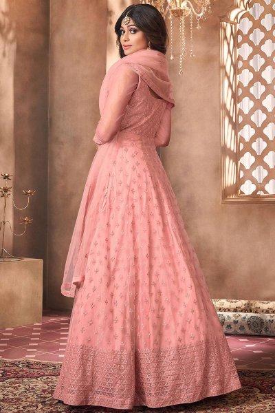 Dark Peach Net Embroidered Anarkali Suit
