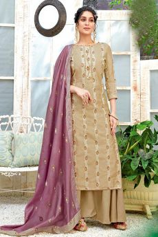 Ready to Wear Tan Brown Hand Weaved Cotton Palazzo Suit