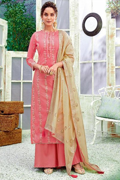 Ready to Wear Pink Hand Weaved Cotton Palazzo Suit