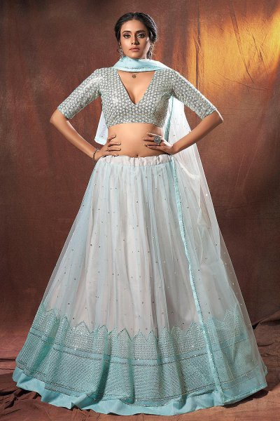 Blue Net Lehenga with Sequin Embellishments