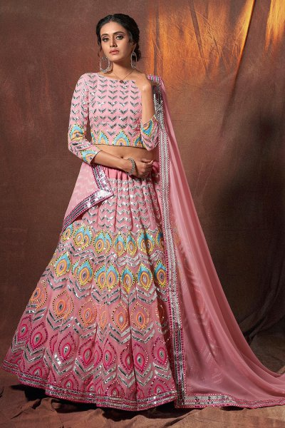 Pink Georgette Lehenga Choli with Gota Handwork