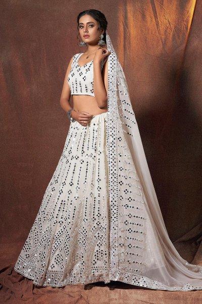 White Georgette Lehenga Choli with Mirror Embellishments