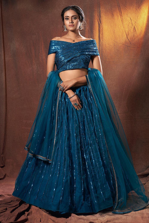 Teal Blue Sequin Embellished Lehenga Choli in Net