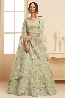 Green Net Lehenga Choli with Embroidery