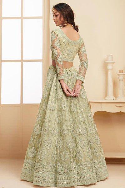 Green Net Lehenga Choli with Embroidery