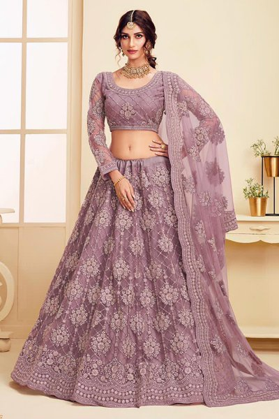 Dark Lilac Net Lehenga Choli with Embroidery
