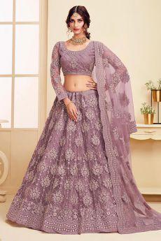 Dark Lilac Net Lehenga Choli with Embroidery
