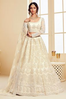 Off-White pearl Net Lehenga Choli with Embroidery