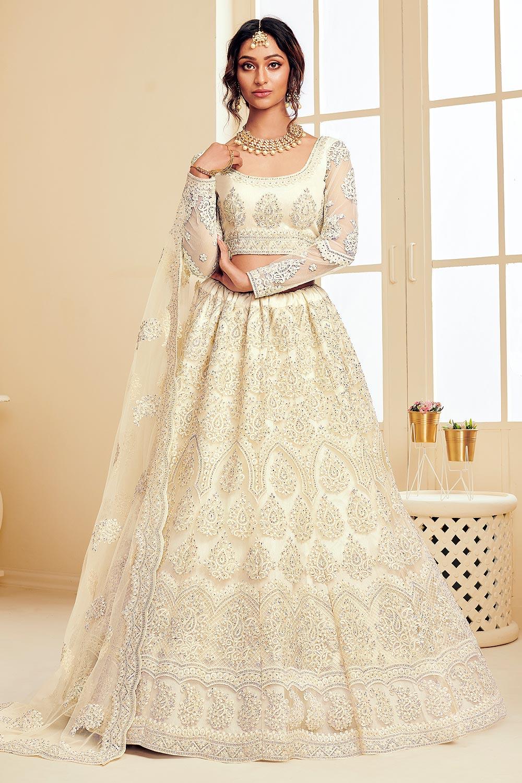 Off-White pearl Net Lehenga Choli with Embroidery
