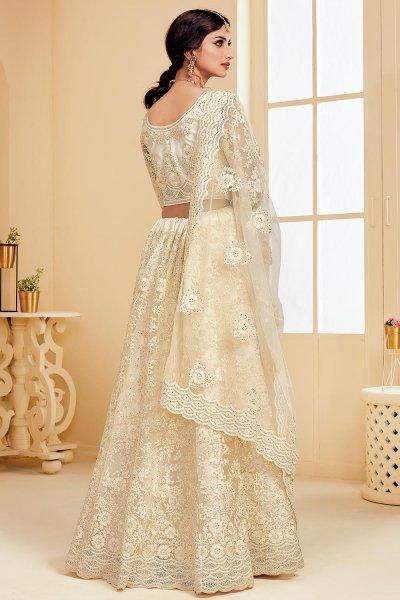 Off-White Net Lehenga Choli with Embroidery