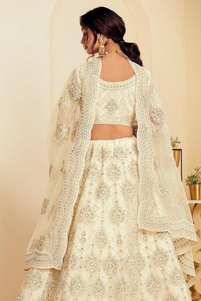 Off White Net Lehenga Choli with Embroidery