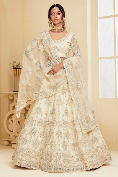Off White Net Lehenga Choli with Embroidery