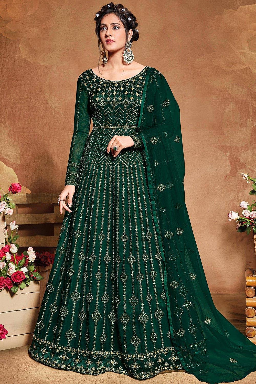 Bottle Green Zari Embroidered Net Anarkali Suit