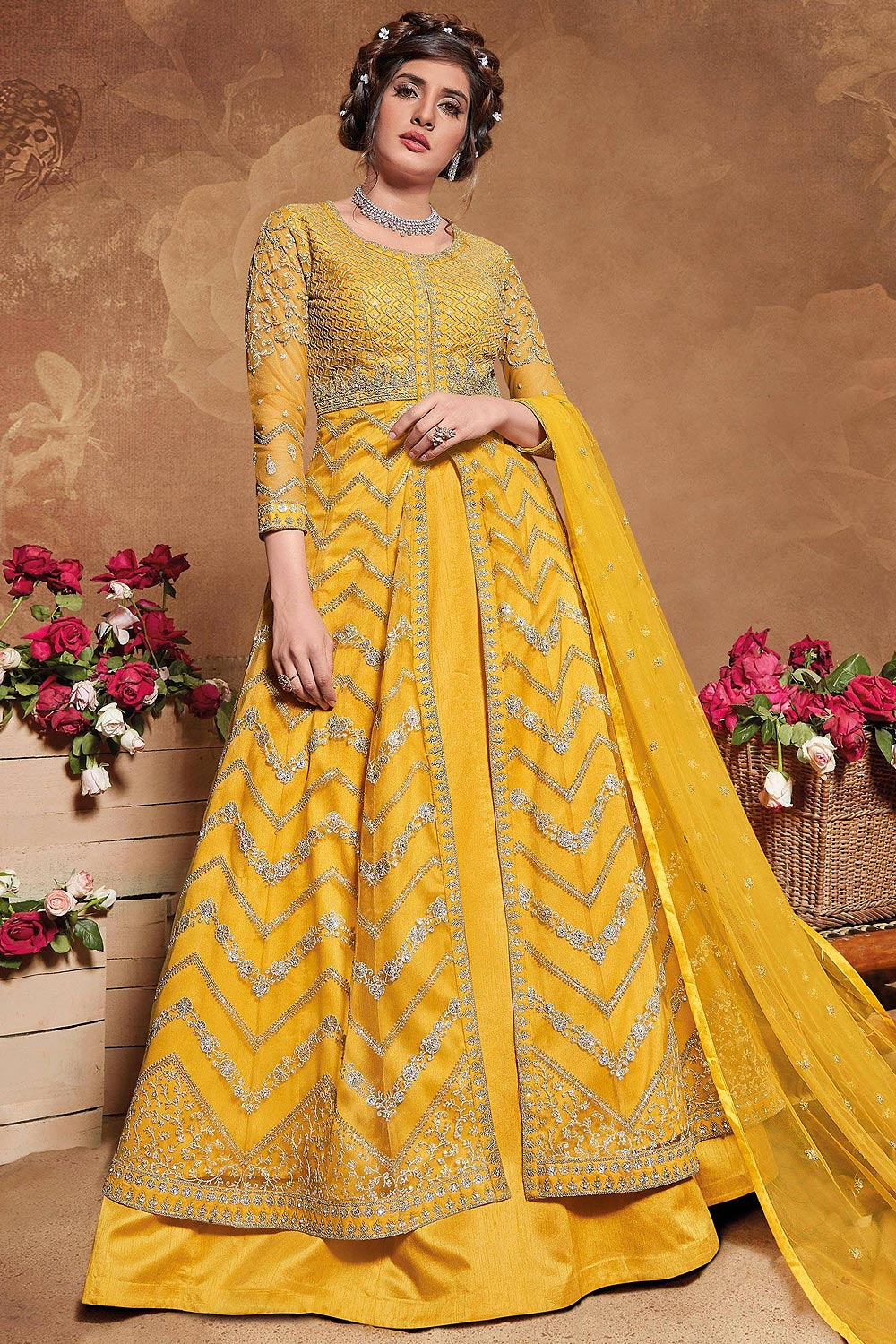 Yellow Zari Embroidered Front Slit Anarkali Dress