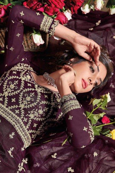 Plum Zari Embroidered Net Anarkali Suit
