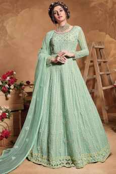 Mint Green Zari Embroidered Net Anarkali Suit
