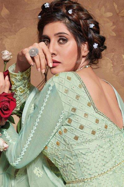 Mint Green Zari Embroidered Net Anarkali Suit