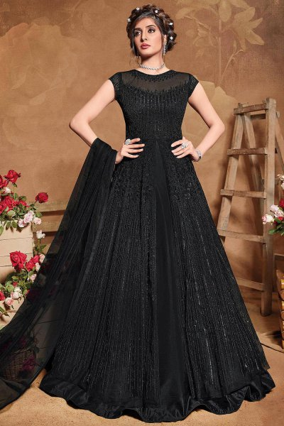 Black Sequin Embellished Anarkali Dress