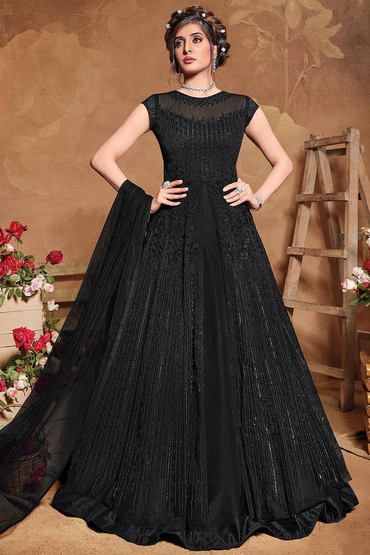 Black Sequin Embellished Anarkali Dress