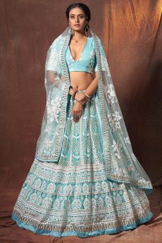 Light Blue Resham Embroidered Lehenga Choli