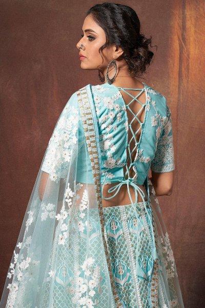 Light Blue Resham Embroidered Lehenga Choli