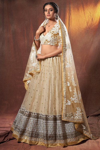 Beige Sequin Embellished Net Lehenga Choli