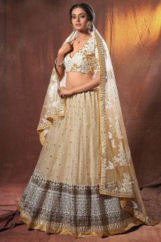 Beige Sequin Embellished Net Lehenga Choli