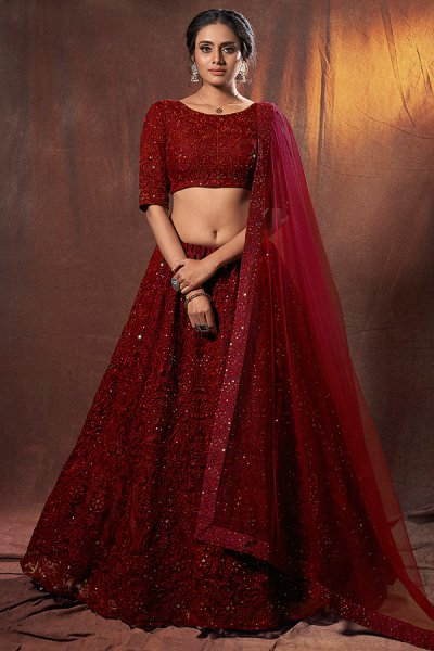 Maroon Embroidered Bridal Lehenga Choli in Net