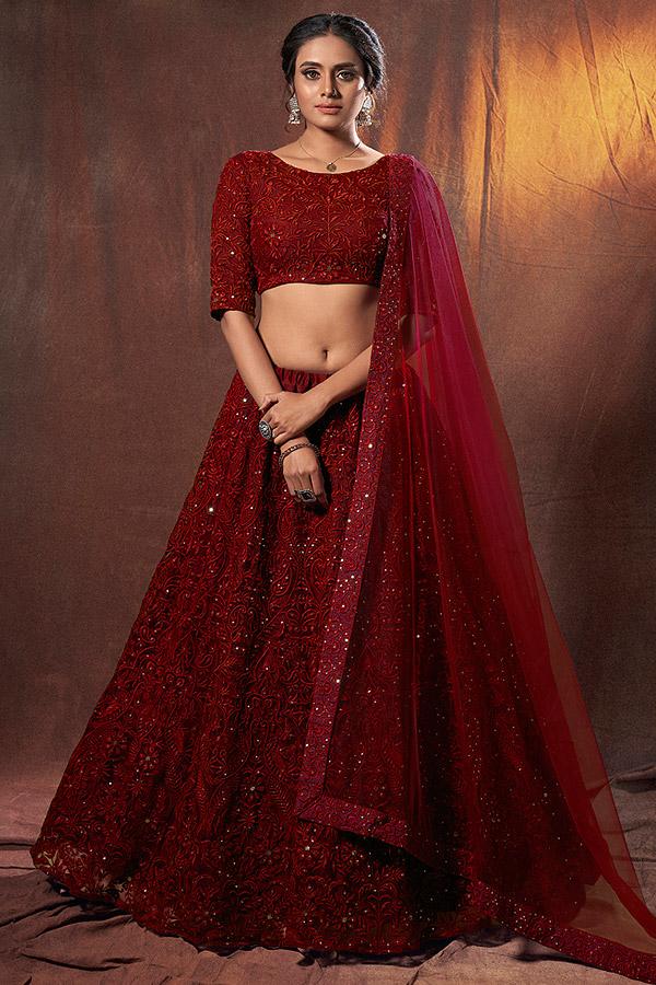 Maroon Embroidered Bridal Lehenga Choli in Net