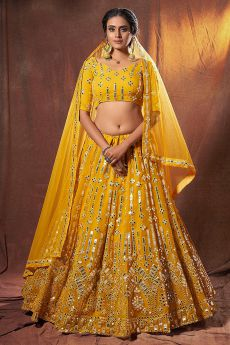 Yellow Georgette Lehenga Choli with Mirror Embellishments