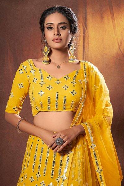 Yellow Georgette Lehenga Choli with Mirror Embellishments