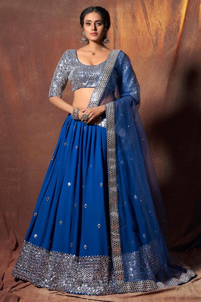 Blue Georgette Lehenga Choli with Mirror Embellishments