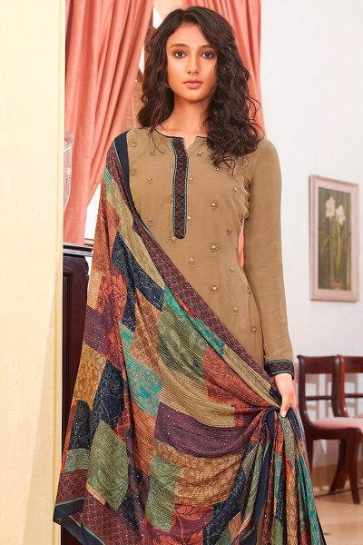 Ready to Wear Caramel Brown Pure Embroidered Muslin Suit with Pure Silk Embroidered Dupatta