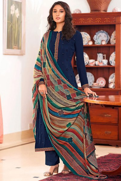Ready to Wear Navy Blue Pure Embroidered Muslin Suit with Pure Silk Embroidered Dupatta